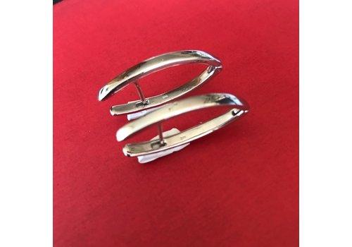 Eigen Collectie Oorbellen, model STANG GLAD, zilver, Eigen Collectie