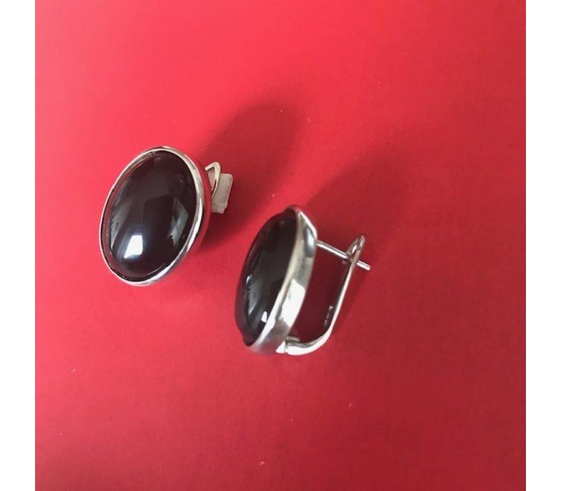 Oorbellen, model OVAAL ONYX BIJZONDERE SLUITING, zilver, Eigen Collectie