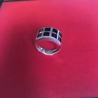 Ring, model ONYX 8 VLAKJES, zilver, Eigen Collectie
