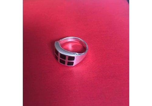 Eigen Collectie Ring, model ONYX 8 VLAKJES, zilver, Eigen Collectie