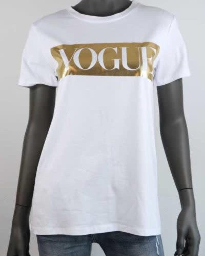T-shirt met voque opdruk goud