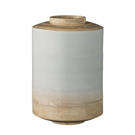 Bamboo vase grey blue dipped