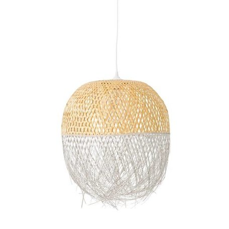 Dipped rotan hanglamp naturel / wit