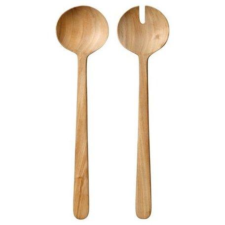 Wooden salad cutlery