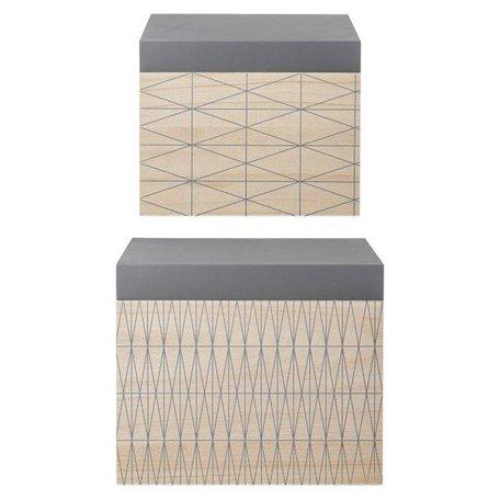 Houten storage boxen set van 2 naturel / grijs