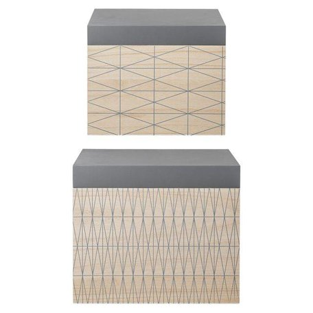 Storage boxes, set of 2 natural / grey