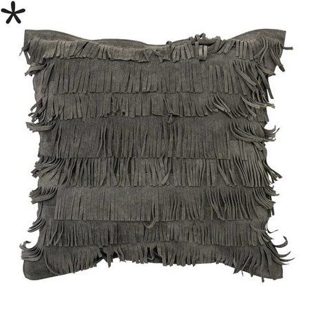 Grey suede - Cushion fringes