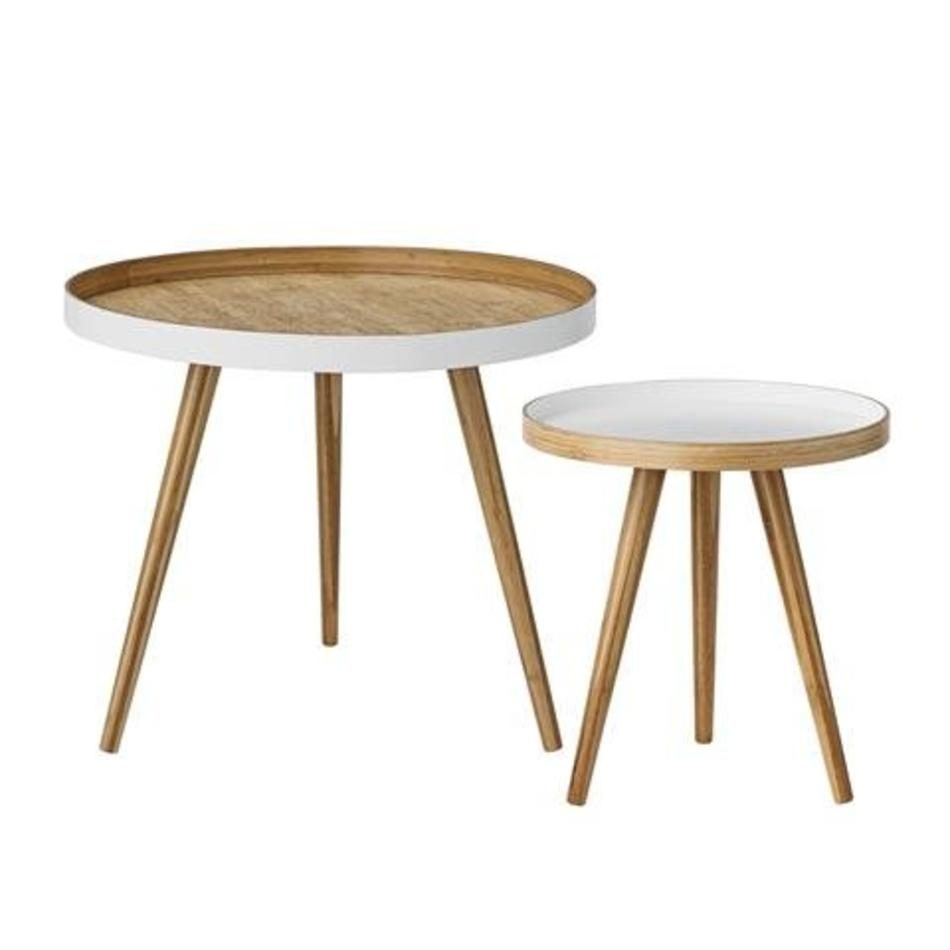 Side Table Wit.Set Of 2 Bamboo Side Tables White