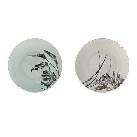 Set of 2 plates Sooij Palm mint / gray