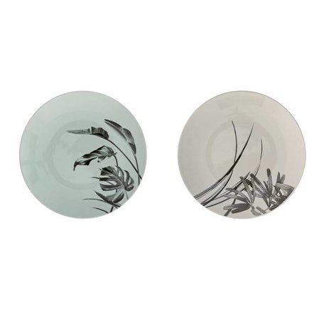 Set van 2 bordjes Sooij Palm mint / grijs