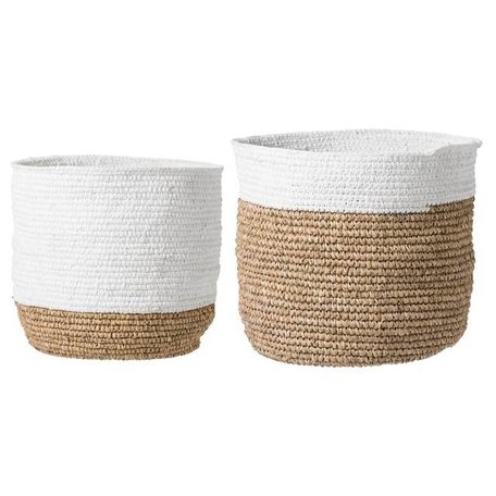 Set of 2 - Natural baskets - White border
