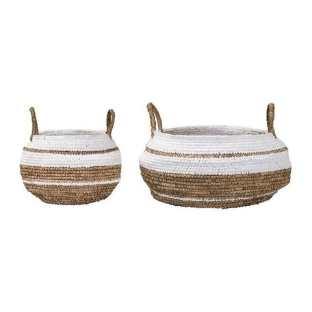 Set van 2 - Raffia manden - Naturel / wit