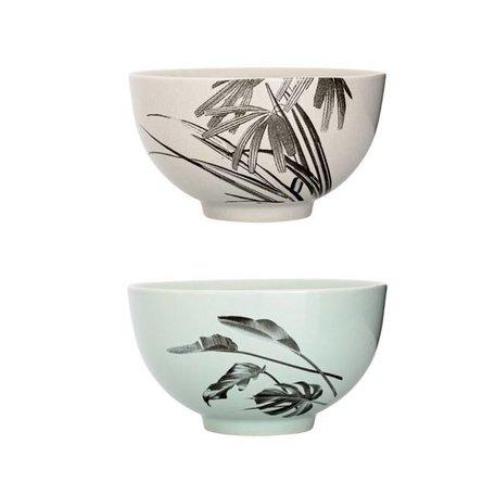 Set of 2 bowls Sooij Palm mint / grey