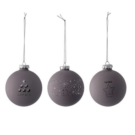 Set of 3 Christmas balls grey / silver