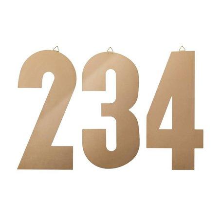 Set van 3 koper metalen cijfers 1-2-3