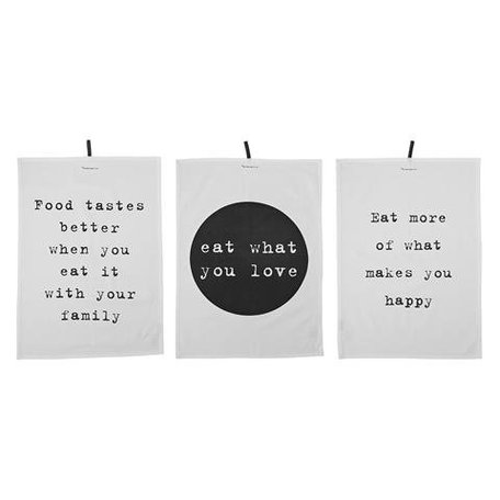 Set of 3 tea towels text