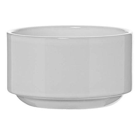 Wit ijzeren standaard met witte bloempot