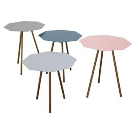 Diamond side tables - set of 4 - pink, petrol, warm grey, grey