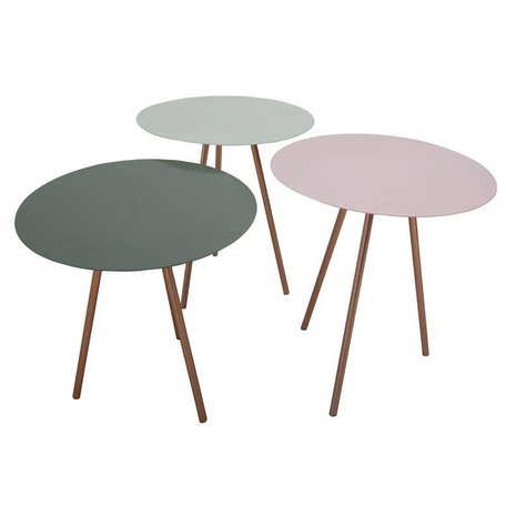 Side tables - set van 3 - roze, mint, groen