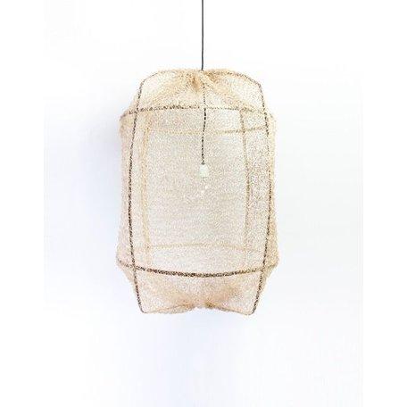 Hanging lamp - Z1 - black frame - Tea dyed net