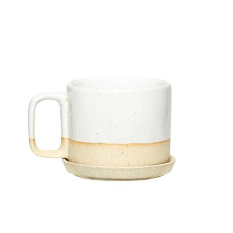 Dipped cup and saucer - Natural white