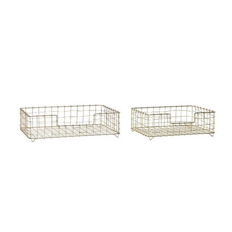 Set of 2 pieces - Storage baskets gold
