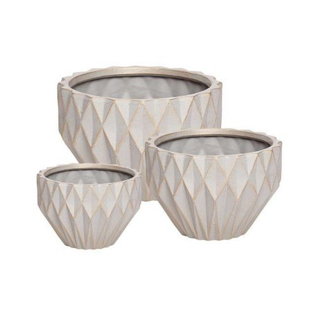 Geometric flower pot - Grey / copper - Medium