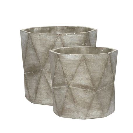 Geometric grey concrete flowerpot
