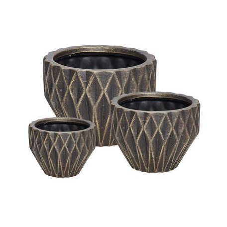 Geometric flowerpot - Black / gold - Medium