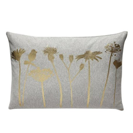 Grey cushion - Golden flowers