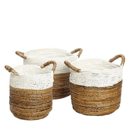 Round seagrass basket white border - L