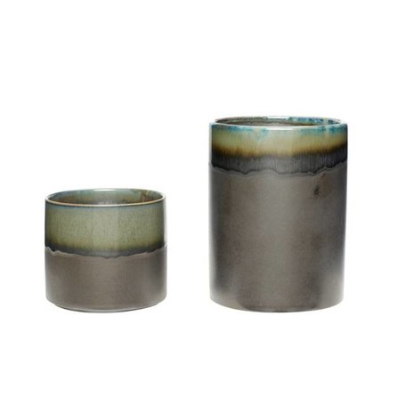 Set of two -Ceramic flower pots - Green / grey