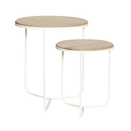 Set of 2 - White side tables - Natural
