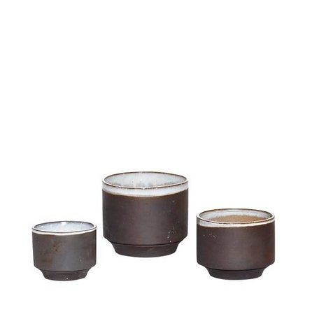 Set of - 3 flower pots - Grey