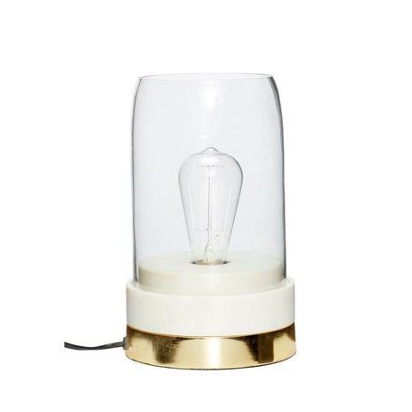 Table lamp - Marble, brass and glass