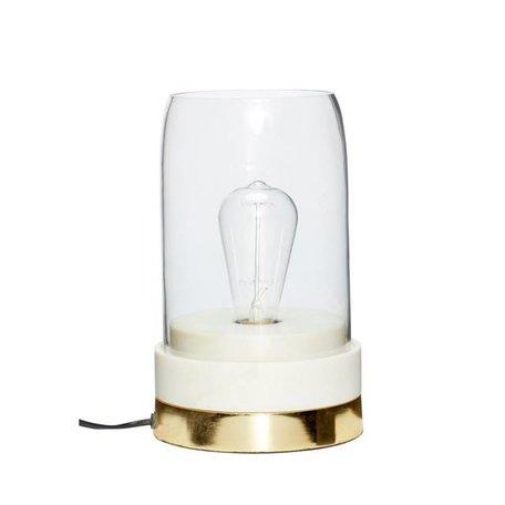 Tafellamp -  Marmer, messing en glas