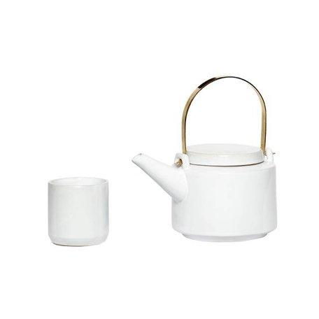 Teapot - Includes 5 mugs - White
