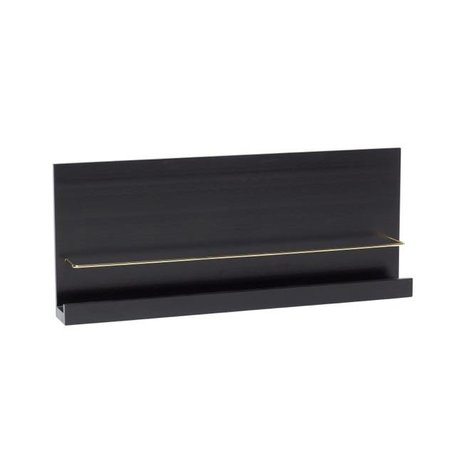Wall shelf black - Brass bracket