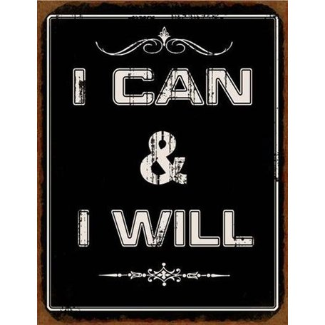 Tekstbord I can I will