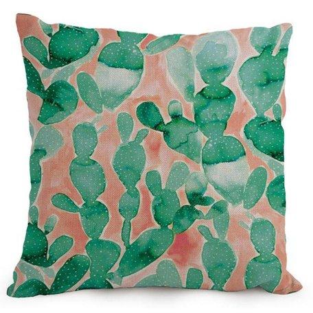 Aquarel kussenhoes cactus - Groen / koraal rood