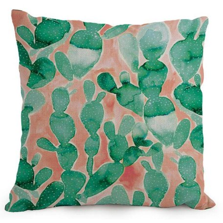 Watercolor cushion cover cactus - Green / coral red