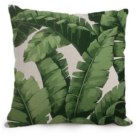 Linen cushion cover banana leaf green
