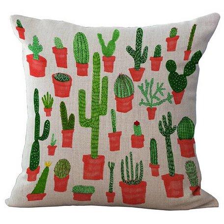 Linnen kussenhoes cactus naturel