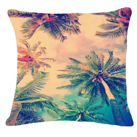 Apricot cushion cover tropical palms