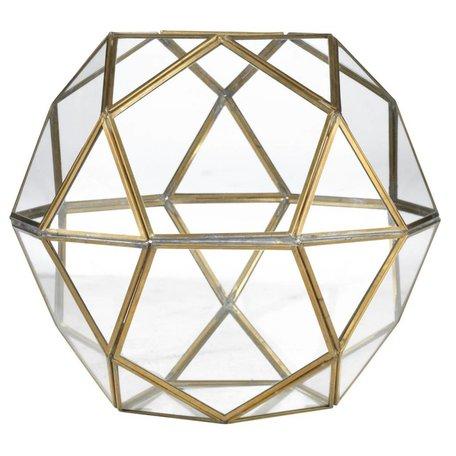Geometric lantaarn koper en glas