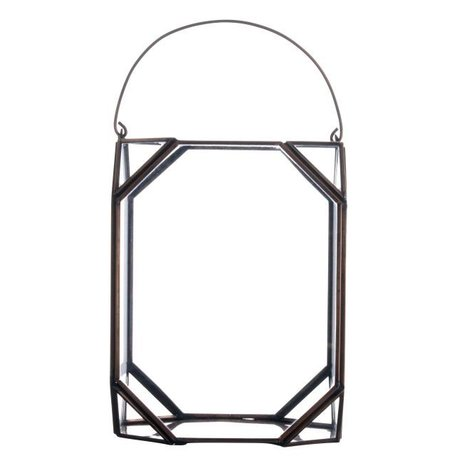 Lantaarn glas in koper PCH10086