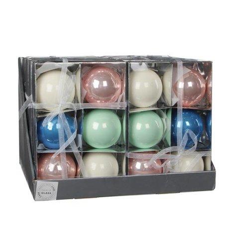 Assorti 6 gekleurde kerstballen  - 8 cm