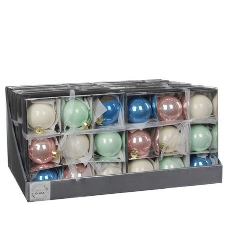 9 assorted colored baubles - 6 cm