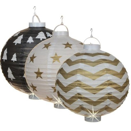 Set of three Chinese lanterns - White, gold / black
