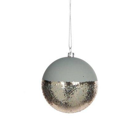 Dipped kerstbal - Groen, goud glitter